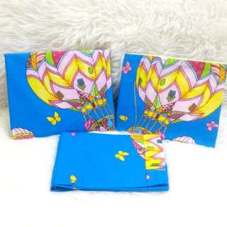 Gutnite Sprei Single 100x200. HOT AIR BALLON-BLUE. Cartoon