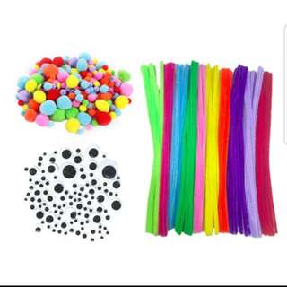 Pipe cleaners, eyes and poms poms (preorder)