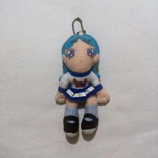 Cute Blue Hair Anime Girl Mini Plush Stuffed Toy Keychain