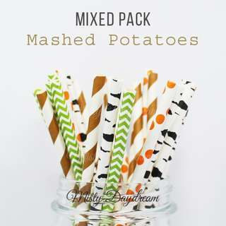25pc MASHED POTATOES Mixed Color Straws