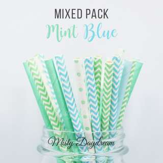 25pc MINT BLUE Mixed Color Straws