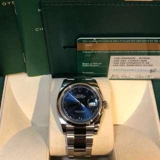 Rolex-116200-羅馬字!放射藍錶面-亂碼-2015年錶-Full Set-欠紅綠牌仔!水貨!