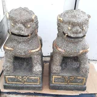 A very old pair Qi Lin (granite )