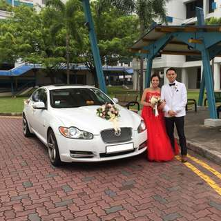 Wedding Car Rental Premium Luxury Jaguar XF flux sunroof pearl White Chauffuered Limousine