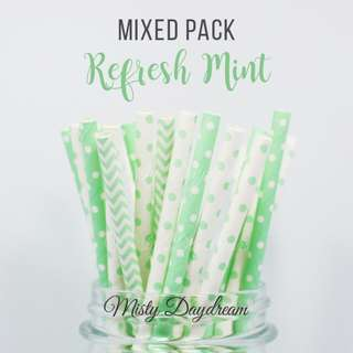 25pc REFRESH MINT Mixed Color Straws