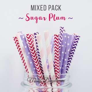 25pc SUGAR PLUM Mixed Color Straws