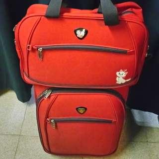 易勢夠發$249.80/2pcs.fixed price {Brand name~Decent}Cabin size case +bag set with 2pcs. included!{22inches diagonal} Red color 2 wheels zipper nylon luggage case fit in cabin use +charming bag Good quality & durable thick nylon made
