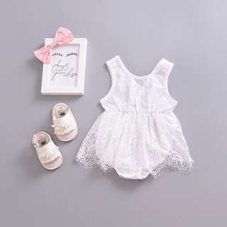 ✔️STOCK - ROMANTIC WHITE LACE ROMPER DRESS BABY TODDLER GIRL ONESIE KIDS CHILDREN CLOTHING