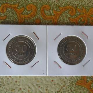1920 & 1921 Straits Settlements Singapore 50 cents silver coin(2)