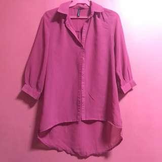 NAFNAF Pink Collar Long Sleeve Top
