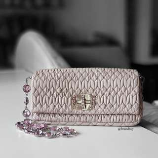 Authentic Miu Miu Medium Crystal Matelassé Leather Crossbody Bag