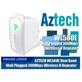 新加坡 Aztech 愛捷特 WL580E Repeater 訊號延伸器 (Dual Band.Repeater,無線雙頻,訊號延伸器,300Mbps)