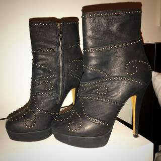 Tony Bianco stiletto silver stud platform boots