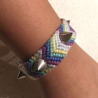 FREE SHIPPING: rainbow thread bracelet with silver studs