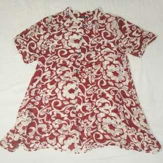 Red Printed Chiffon Blouse