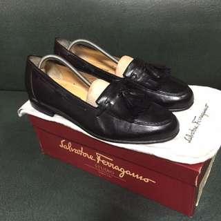 Salvatore Ferragamo Black Leather Tassel Loafers
