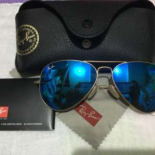 Authentic Ray ban Aviator Flashlens Blue