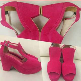 Magenta Wedges Faux Suede