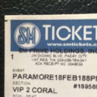PARAMORE Manila VIP 1 ticket