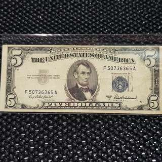 USA $5 Blue seal series 1953A