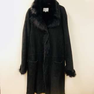 Jigsaw lamb sheepskin black overcoat jacket L