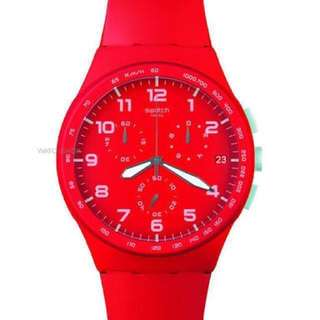 Swatch Red Shadow Chronograph Watch