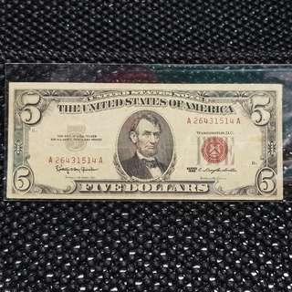 USA $5 Red Seals 1963
