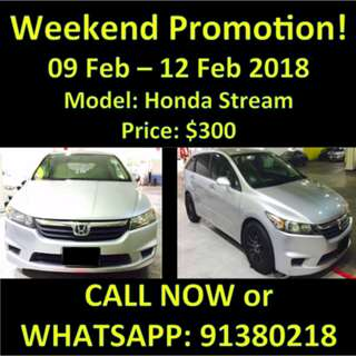 WEEKEND PROMOTION 9-12 Feb Honda Stream