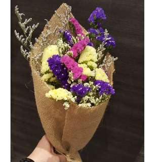 Rustic Bouquet of colourful Statice ( Fresh Flowers)
