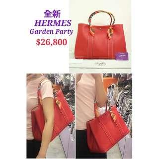 全新 HERMES Garden Party 36 PM Rouge Casaque (CKQ5) 紅色 皮革 手提袋 大號 肩背袋 手袋 Leather Handbag