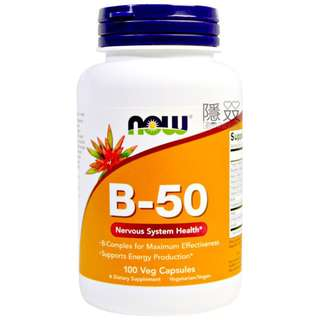 促進身體健康【Now Foods 健而婷】 B-50 Veg Capsules B-50 營養補充丸素食膠囊 B群B1 B2 B3 B6 B12 葉酸 生物素