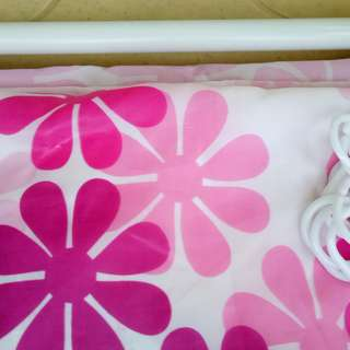 Shower curtain with rings and rod