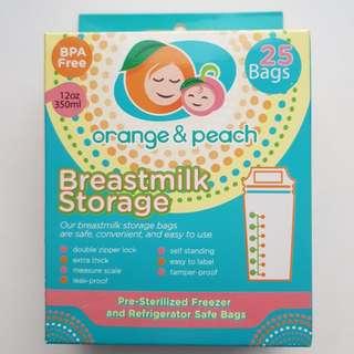 Orange & Peach Breast milk storage bags