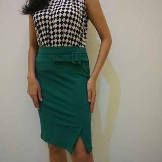 Midi Skirt with Belt Accent