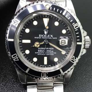 "Vintage Rolex 1680 (藥膏面)  ""Transitional"" Submariner Date has a beautifully aged early Mk III dial (螢光粉已經變淡黃色),肥殼,無返填,超靚仔"