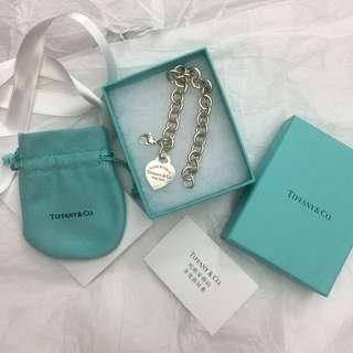 🚚 Tiffany&Co專櫃正品手鍊 return to Tiffany經典愛心粗鍊純銀刻字手鍊 925純銀