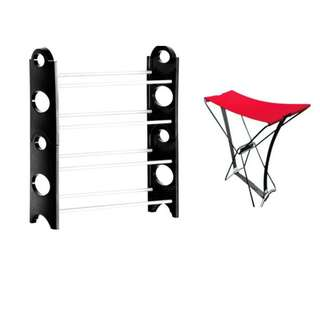 4 layers shoe rack with portable rockin'chair ( sets )