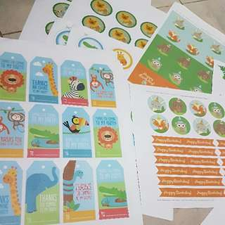 Animal Party Labels Set