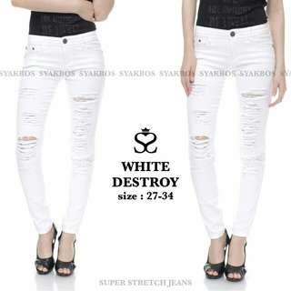 White destroy jeans sz 27-30