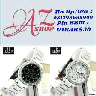 Jam Tangan Wanita Hegner HW 5203 L Silver Rantai Original Murah