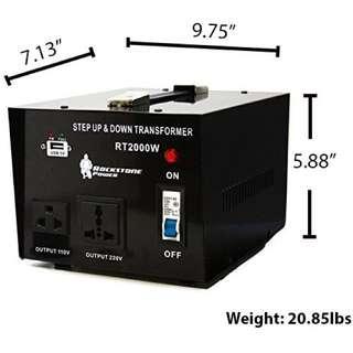 Rockstone Power 2000 Watt Heavy Duty Step Up/Down Voltage Transformer Converter - Step Up/Down 110/120/220/240 Volt - 5V USB Port - CE Certified