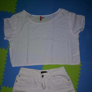 Take it all crop top hnm + hot pants