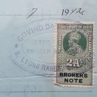 British india - 1942 - SHARE BROKER'S RECEIPT  - with King George Broker's Note Stamp - in134