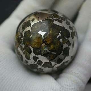 俄羅斯隨城Seymchan橄欖石石鐵隕石球 重229.9克 直徑44mm