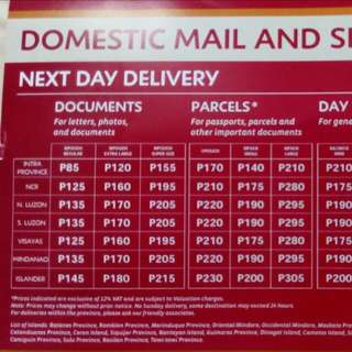 For Reference: LBC shipping rates