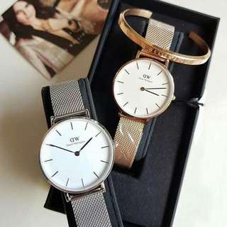 Authentic Daniel Wellington  Classic petite  mesh and leather strap 32mm