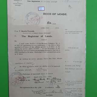 BRITISH CEYLON - 1933 - DEED OF LEASE - King George V Period - in137