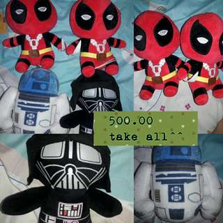 Take all Darth Vader, R2d2, and Deadpool chibi stuffed toys