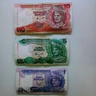 OLD RINGGIT MALAYSIA (RM10, RM5, RM1)