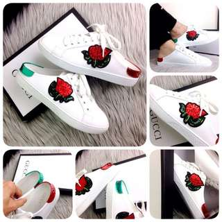 GUCCI Ace Rose  Embroidered Slip Sneaker Spring Summer 2018